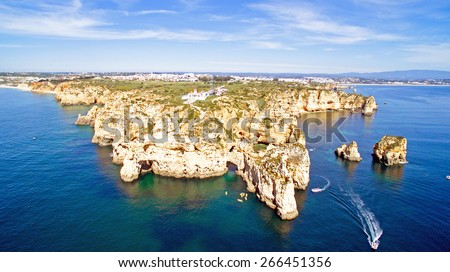 Aerial from Ponta Piedade with the lighthouse in Lagos Portugal - stock photo