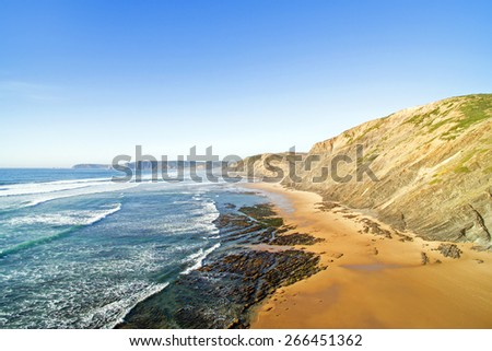 Aerial from Praia Vale Figueiras at the westcoast in Portugal - stock photo