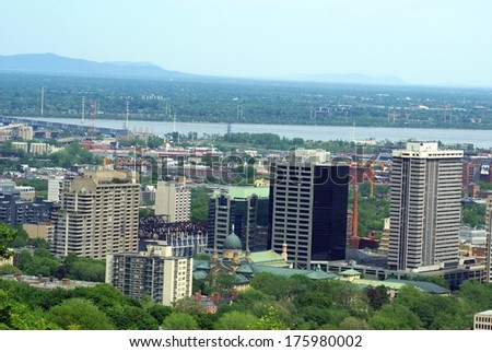 Aerial general urban view of Montreal city, Quebec, Canada - stock photo