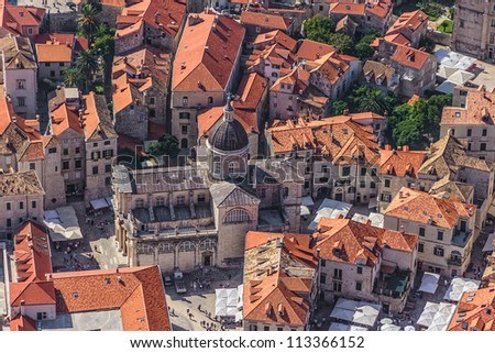 Aerial helicopter shoot of Dubrovnik old town - Cathedral. - stock photo
