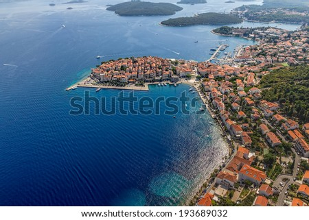 Aerial helicopter shoot of Korcula old town. Dubrovnik archipelago - Elaphites islands - stock photo