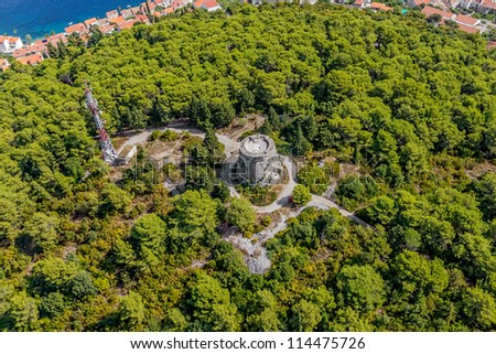 Aerial helicopter shoot of Korcula old town fortress. Dubrovnik archipelago - Elaphites islands - stock photo
