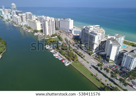 Aerial image Miami Beach coastal condominiums