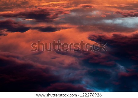 Aerial image of a sky at sunset