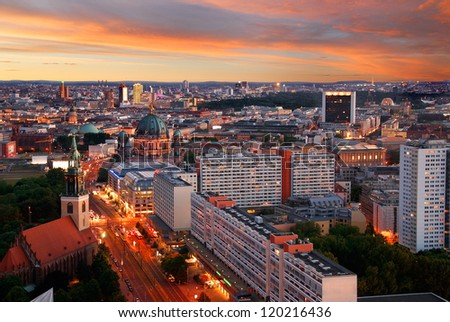 aerial image of berlin skyline with potsdamer platz and berliner dom at dawn - stock photo