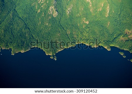 Aerial image of Coastal British Columbia in  Canada - stock photo