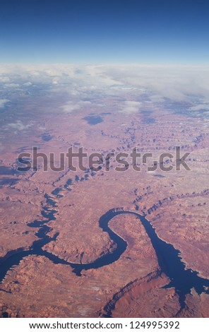 aerial image of Lake Powell and Escalante Canyon in the Utah Glenn Canyon Recreation Area