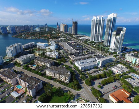 Aerial Image Sunny Isles Beach FL.  Please visit my video gallery for great aerial videos of Sunny Isles and more.  - stock photo