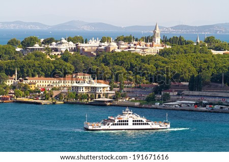 Aerial Istanbul. Historical Topkapi Palace and a ferry sailing out from Old Istanbul, Turkey - stock photo