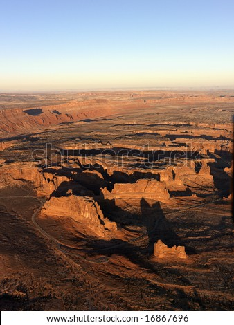 Aerial landscape of rock formations in Canyonlands National Park, Utah, United States.