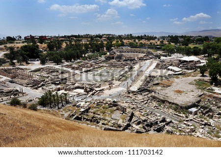 Aerial landscape view of Ancient Beit Shean, Israel.