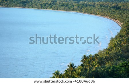 Aerial landscape view of Four Mile Beach in Port Douglas  in the tropical north of  Queensland,  Australia. - stock photo
