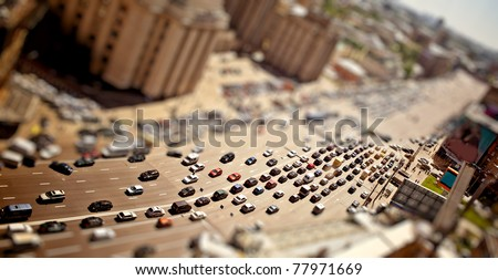 Aerial Moscow view with tilt-shift effect - stock photo