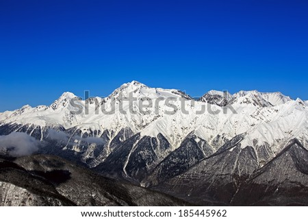 Aerial mountain panorama, North Caucasus, Sochi, Russia - stock photo