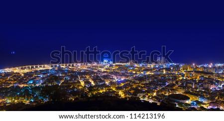 Aerial night in Santa Cruz de Tenerife at Canary Islands - stock photo