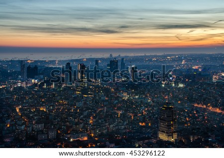 Aerial night panoramic view of business Istanbul, Turkey