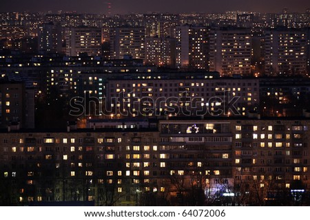 Aerial night view of houses, good for texture or background - stock photo