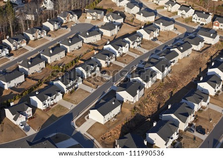 Aerial of a brand new suburban neighborhood in the eastern USA. - stock photo