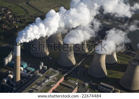 Aerial of a coal fire power station. - stock photo