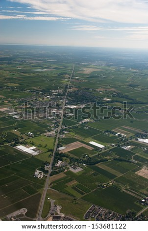 Aerial of agricultural lands and rural town Virgil Ontario - stock photo