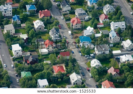 Aerial of colourful Icelandic houses