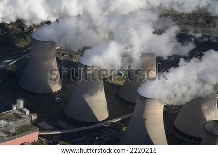 Aerial of cooling towers of the Cotham power station - stock photo