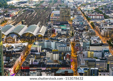 aerial of Frankfurt am Main by night - stock photo