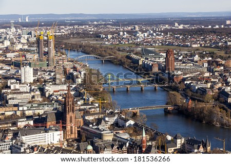 aerial of Frankfurt am Main in the afternoon - stock photo