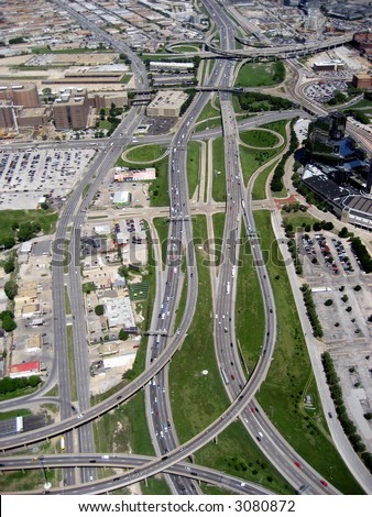 Aerial of Interstate - stock photo