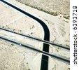 Aerial of interstate 10 highway crossing over Colorado River Aqueduct in Arizona. - stock photo