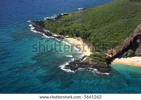 Aerial of Maui, Hawaii beach and Pacific ocean. - stock photo