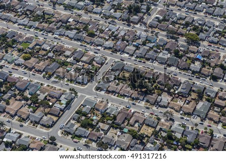 Aerial of middle class residential neighborhood near Oakland, California.
