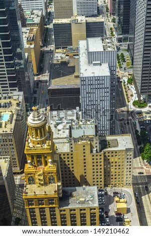 aerial of modern and historic   buildings in downtown Houston in daytime - stock photo