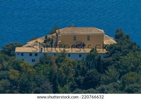 Aerial of monastery in Paleokastritsa, Corfu (Kerkyra), Greece - stock photo