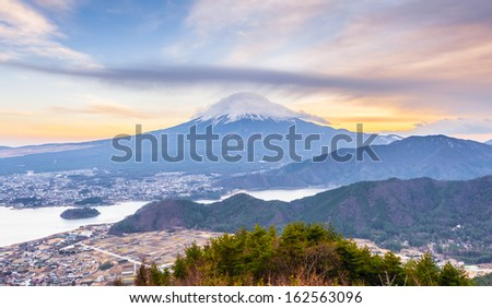 Aerial of MT Fuji at sunset - stock photo
