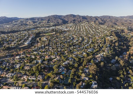 Aerial of Pacific Palisades residential streets in Los Angeles California.