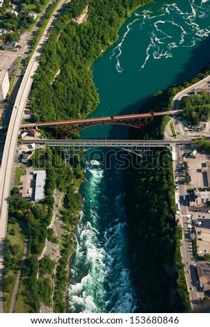 Aerial of railway bridges over Niagara River - stock photo