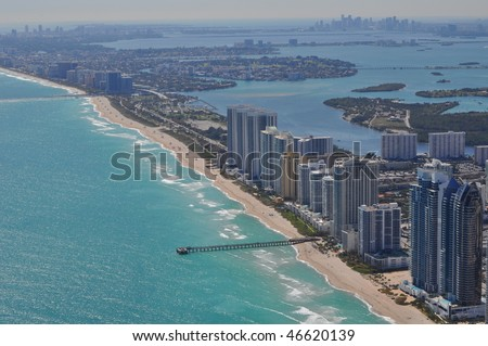 Aerial of Sunny Isles Beach, Miami Beach, and Downtown Miami Skyline - stock photo