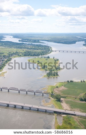 Aerial of view the Des Prairies river near Montreal - stock photo