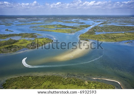 Aerial of wetlands at Cumberland Island National Seashore, Georgia. - stock photo