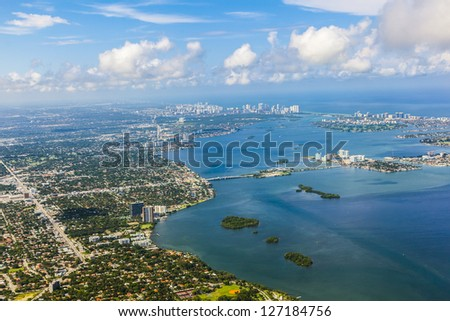 aerial oftown and beach of Miami - stock photo