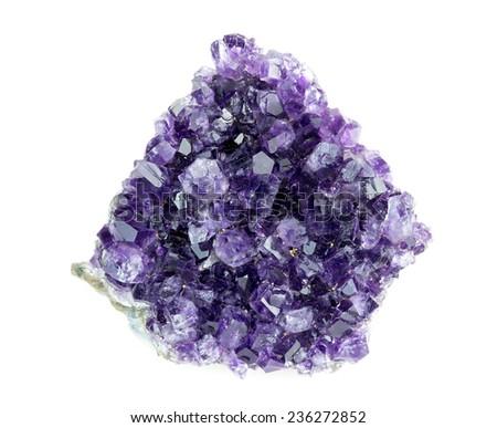 Aerial overhead shot of rough purple amethyst geode - stock photo