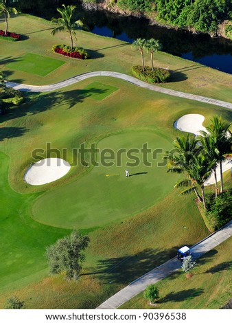 aerial overhead view of golf green in florida