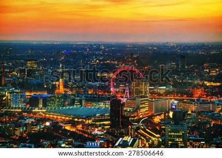 Aerial overview of London city at the sunset time - stock photo