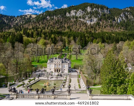 Aerial panorama from the upper terrace on hill in the park near the Linderhof (the nineteenth century palace), Germany - natural background
