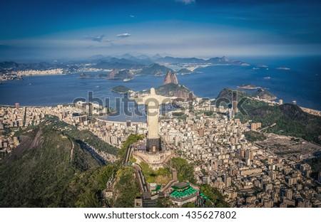 Aerial panorama of Botafogo Bay and Sugar Loaf Mountain, Rio De Janeiro, Brazil - stock photo