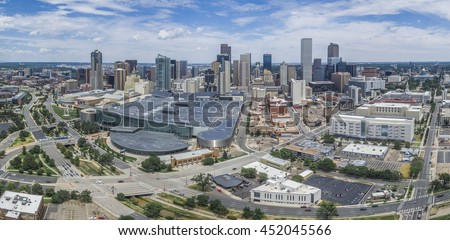 Aerial panorama of Denver, Colorado skyline as viewed from west looking east. - stock photo