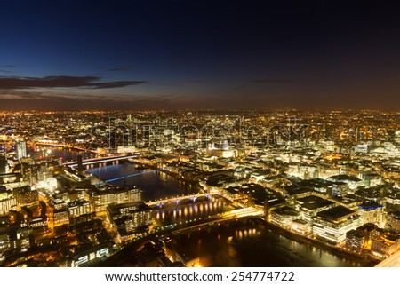 Aerial Panorama of London during the blue hour, England - stock photo