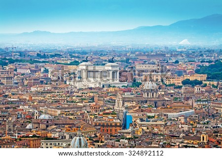Aerial panorama of Rome, Italy - stock photo