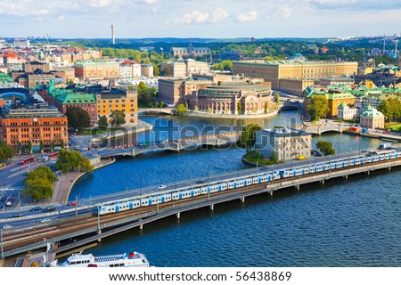 Aerial panorama of Stockholm, Sweden - stock photo